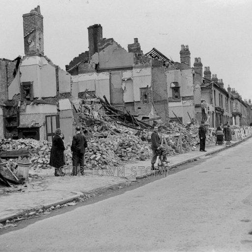 Blitz Bomb Damage in Highgate Road, Birmingham, 1942