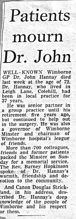 Dr. John Hannay Newspaper Cutting