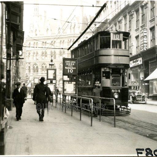 Tram waits in Martineau Street, Birmingham, c. 1930
