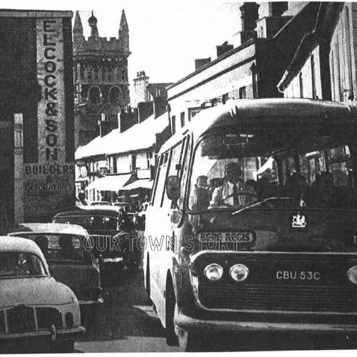 Traffic Jam in East Street, Wimborne Minster, c. 1960s