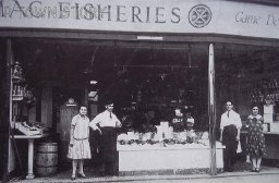 Staff of Mac Fisheries, Wimborne Minster, c. 1930s