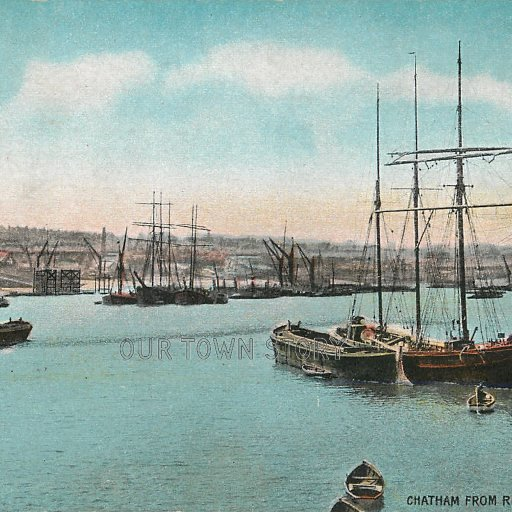 Chatham from the Medway, c. 1905