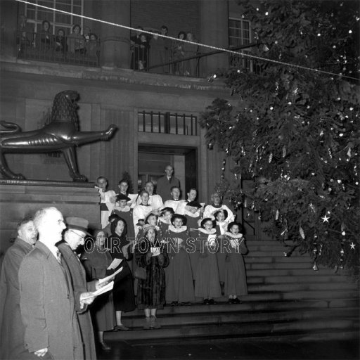 Carol Singers Outside Norwich City Hall, 1957