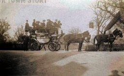 A coach and horses outside the Willett Arms, Merley