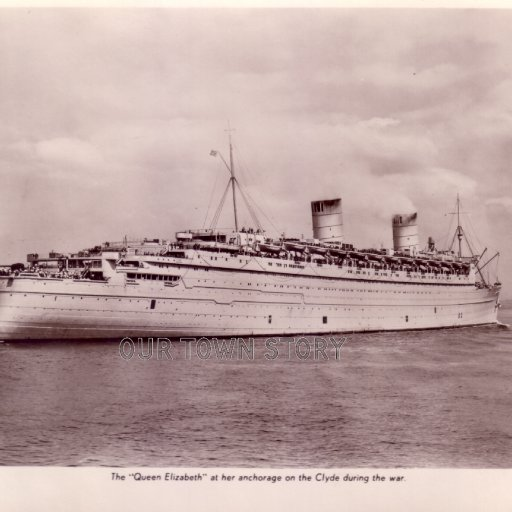The Queen Elizabeth at her anchorage on the Clyde during the war.